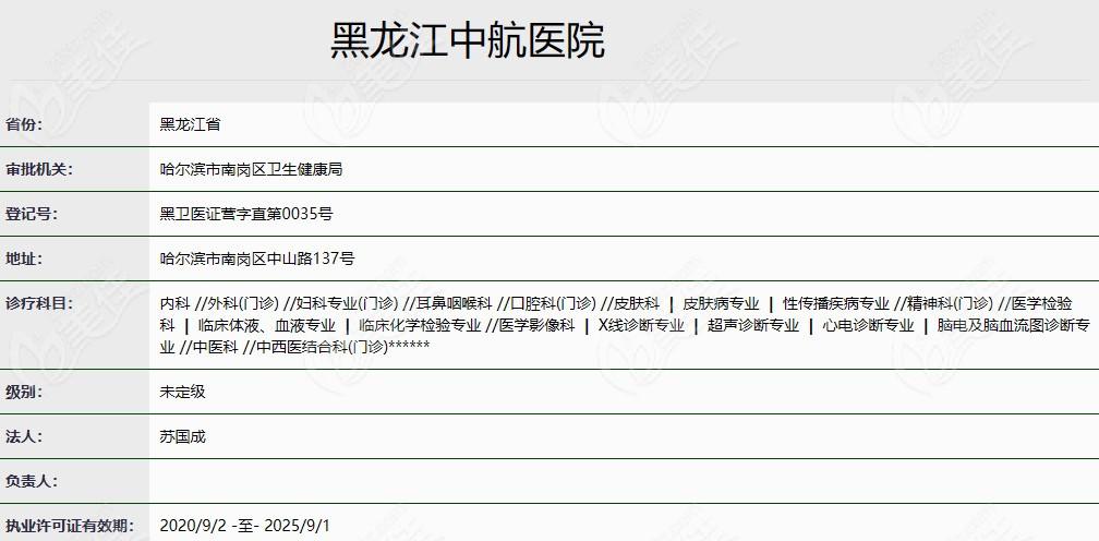 黑龙江中航医院的认证