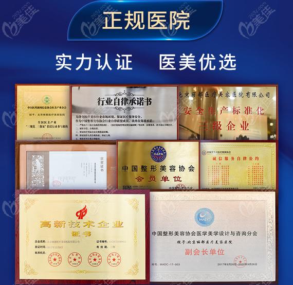 北京丽都整形医院证书展示